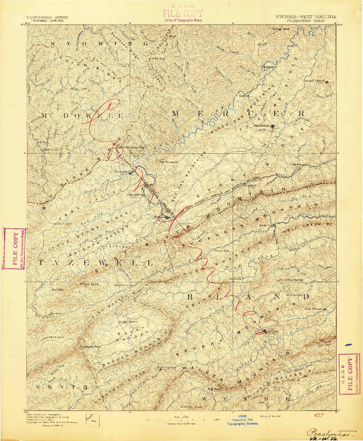 USGS 1:125000-SCALE QUADRANGLE FOR POCAHONTAS, VA 1891