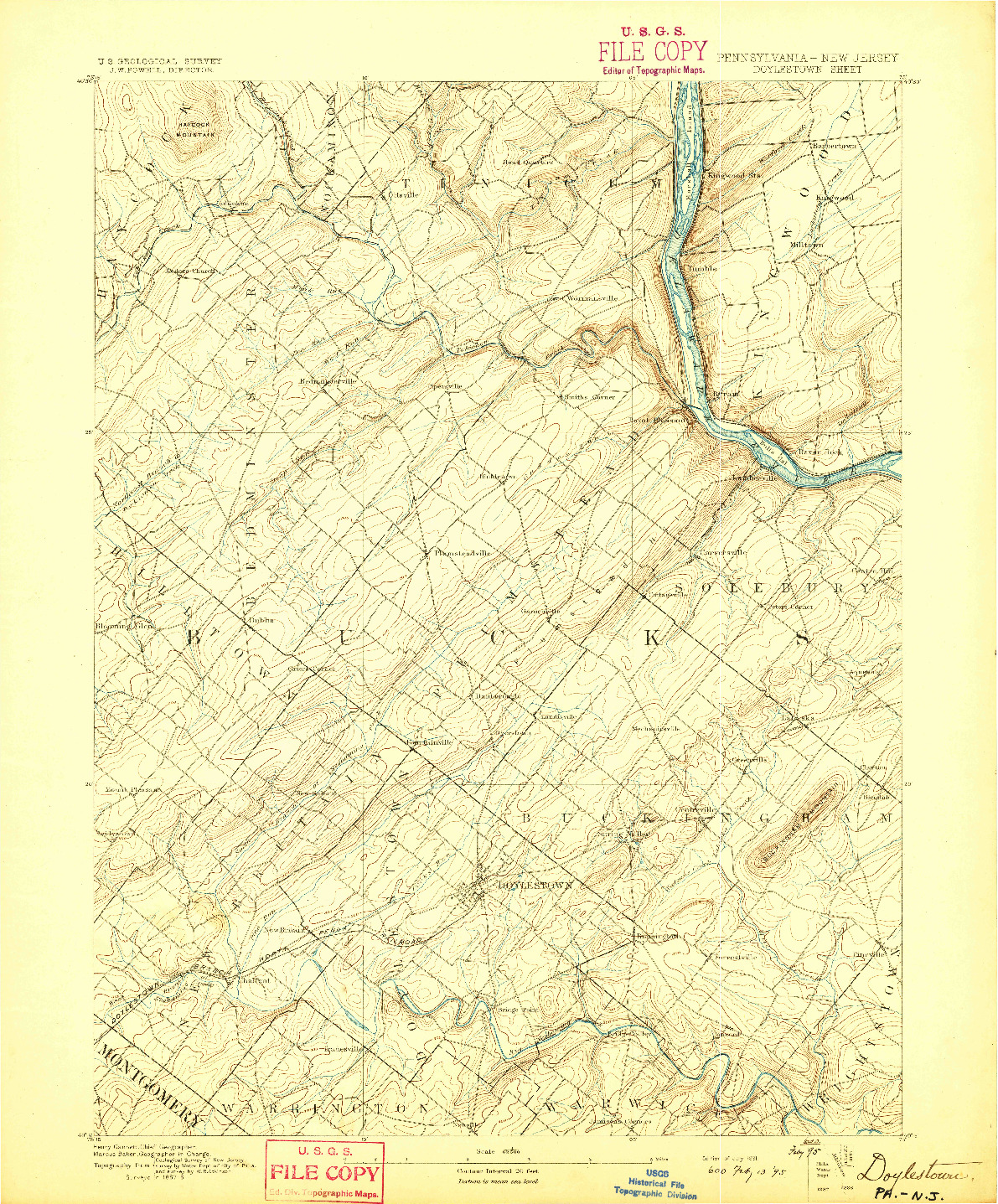 USGS 1:62500-SCALE QUADRANGLE FOR DOYLESTOWN, PA 1891