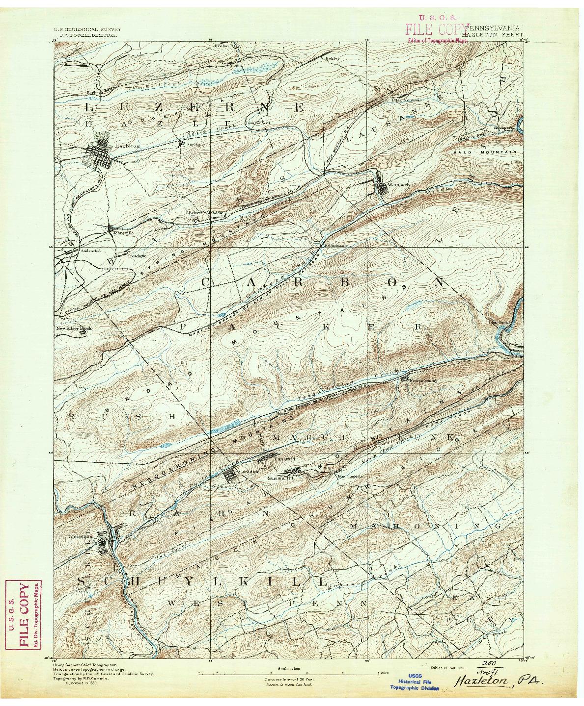 USGS 1:62500-SCALE QUADRANGLE FOR HAZLETON, PA 1891