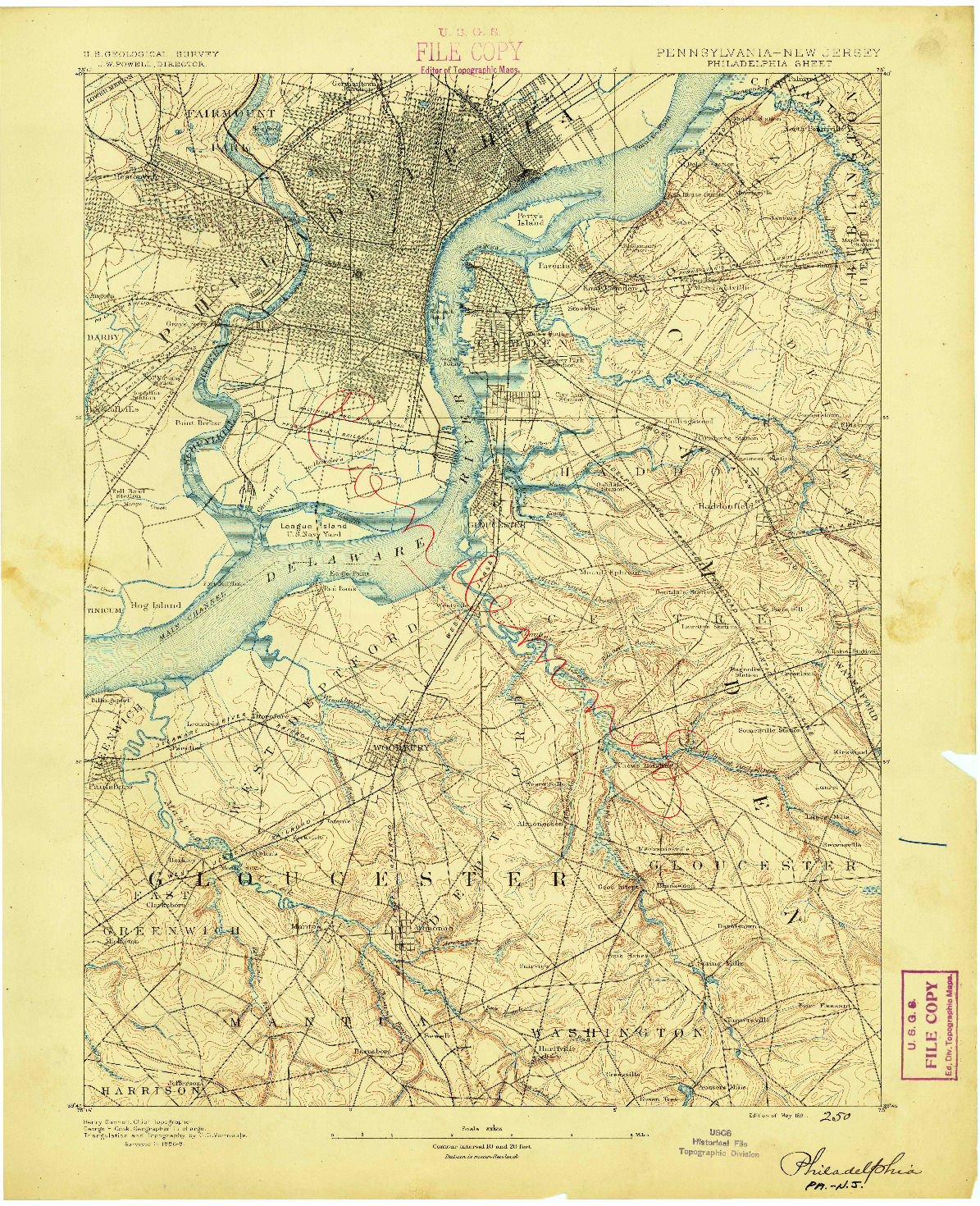 USGS 1:62500-SCALE QUADRANGLE FOR PHILADELPHIA, PA 1891