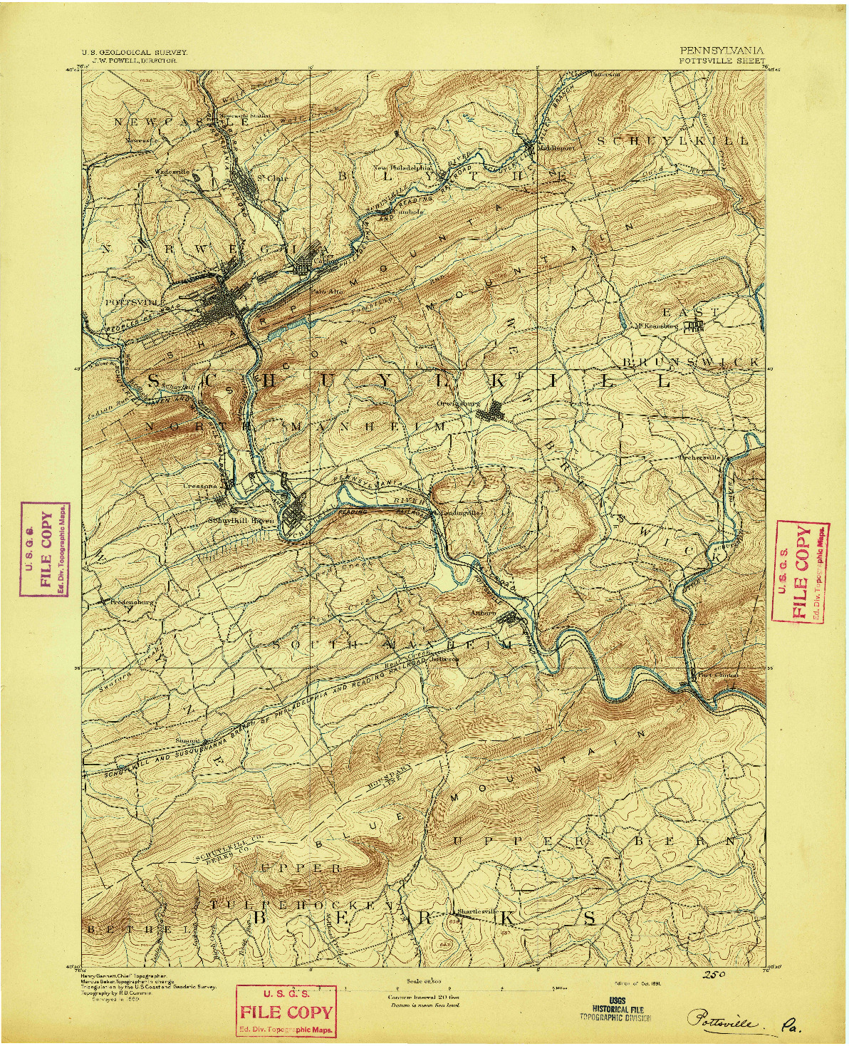 USGS 1:62500-SCALE QUADRANGLE FOR POTTSVILLE, PA 1891