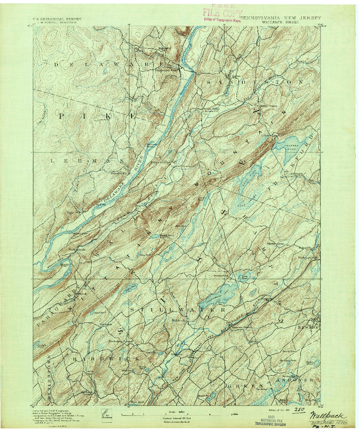 USGS 1:62500-SCALE QUADRANGLE FOR WALLPACK, PA 1891
