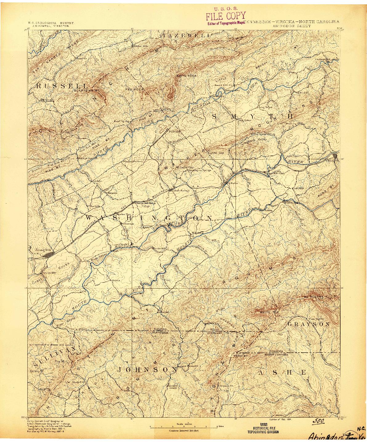 USGS 1:125000-SCALE QUADRANGLE FOR ABINGDON, TN 1891