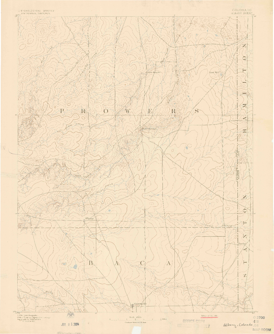 USGS 1:125000-SCALE QUADRANGLE FOR ALBANY, CO 1891