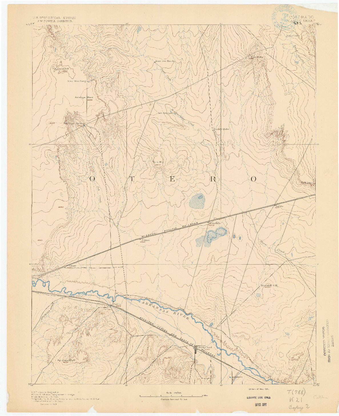 USGS 1:125000-SCALE QUADRANGLE FOR CATLIN, CO 1891