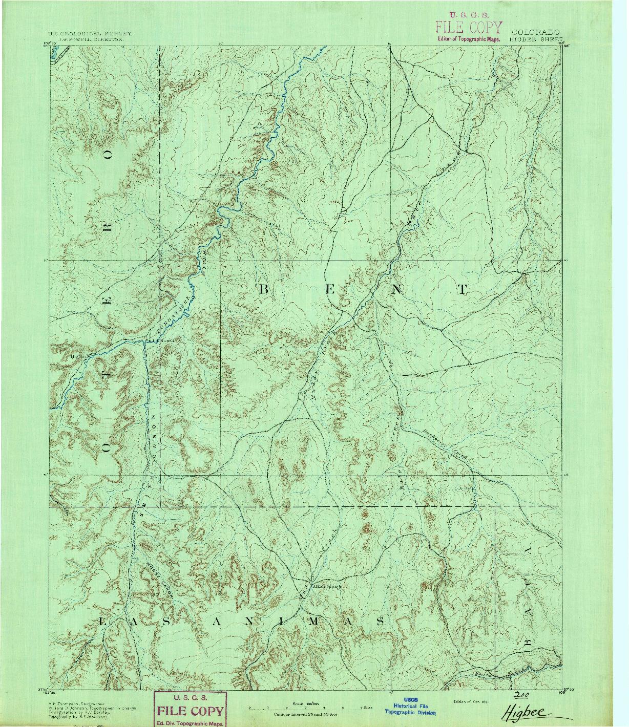 USGS 1:125000-SCALE QUADRANGLE FOR HIGBEE, CO 1891