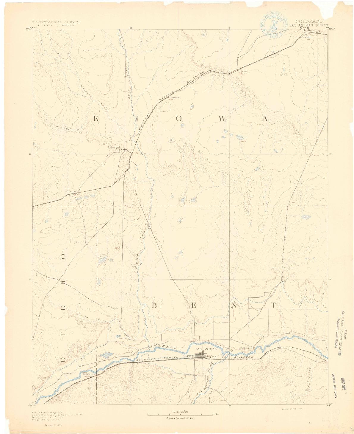 USGS 1:125000-SCALE QUADRANGLE FOR LAS ANIMAS, CO 1891