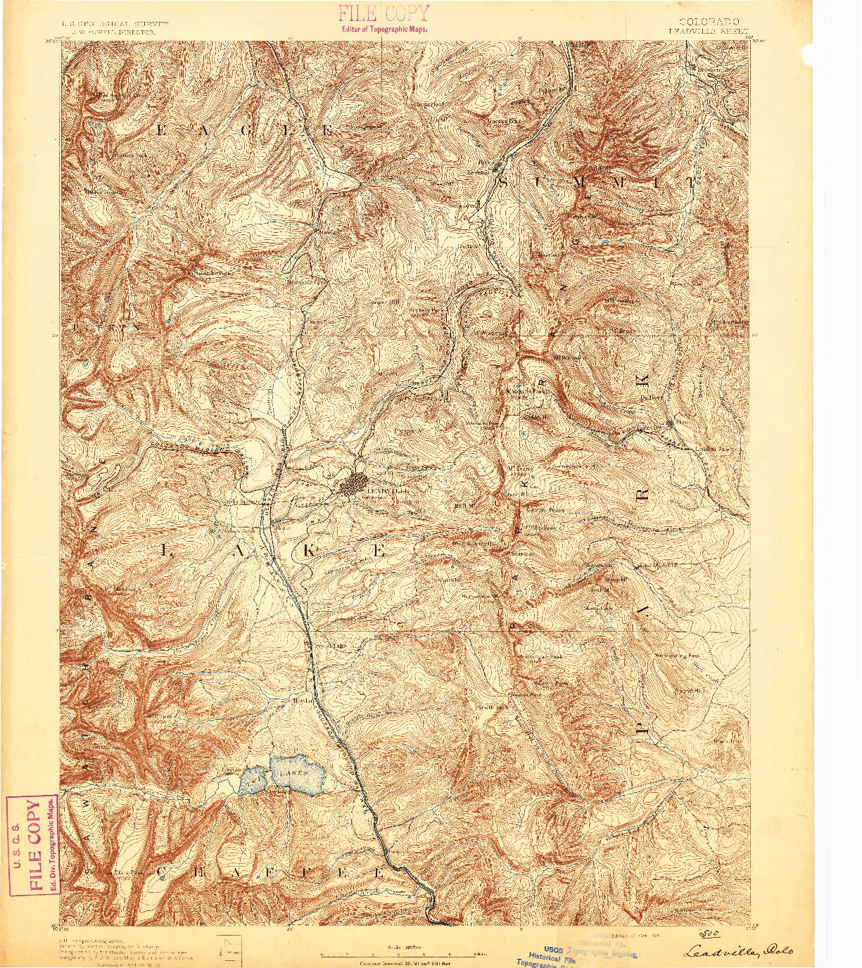 USGS 1:125000-SCALE QUADRANGLE FOR LEADVILLE, CO 1891
