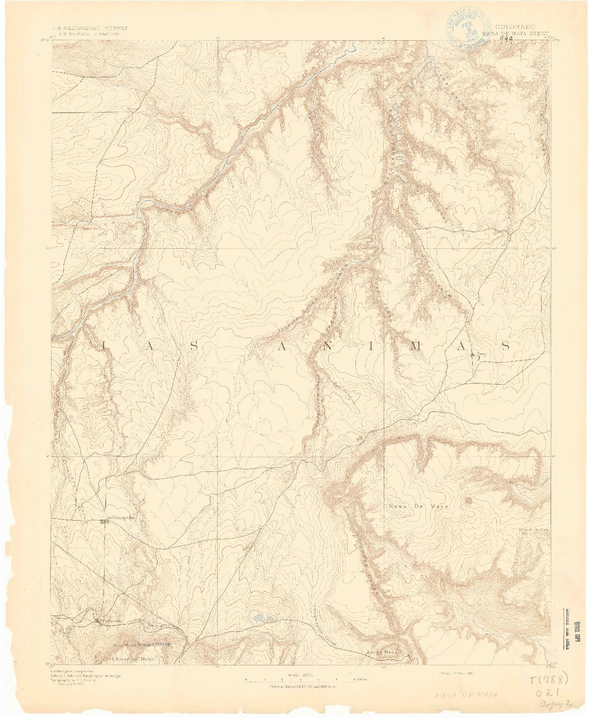 USGS 1:125000-SCALE QUADRANGLE FOR MESA DE MAYA, CO 1891