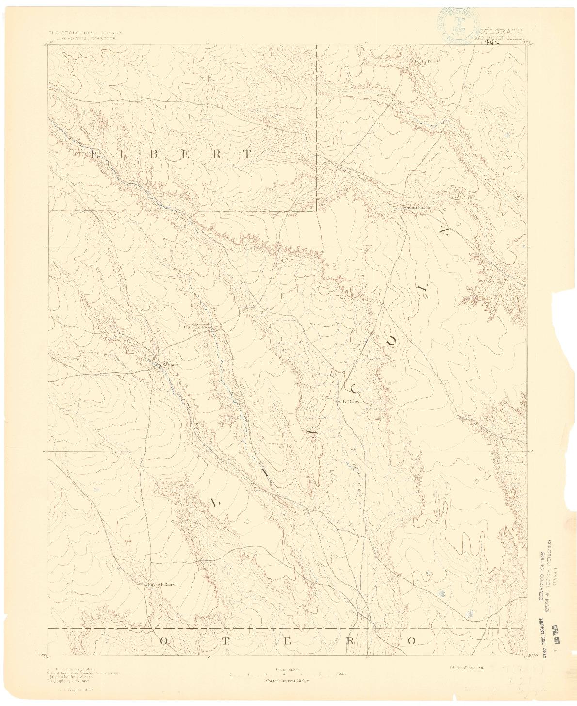 USGS 1:125000-SCALE QUADRANGLE FOR SANBORN, CO 1891