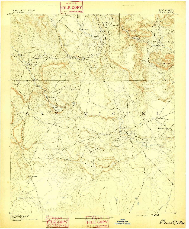 USGS 1:125000-SCALE QUADRANGLE FOR BERNAL, NM 1891