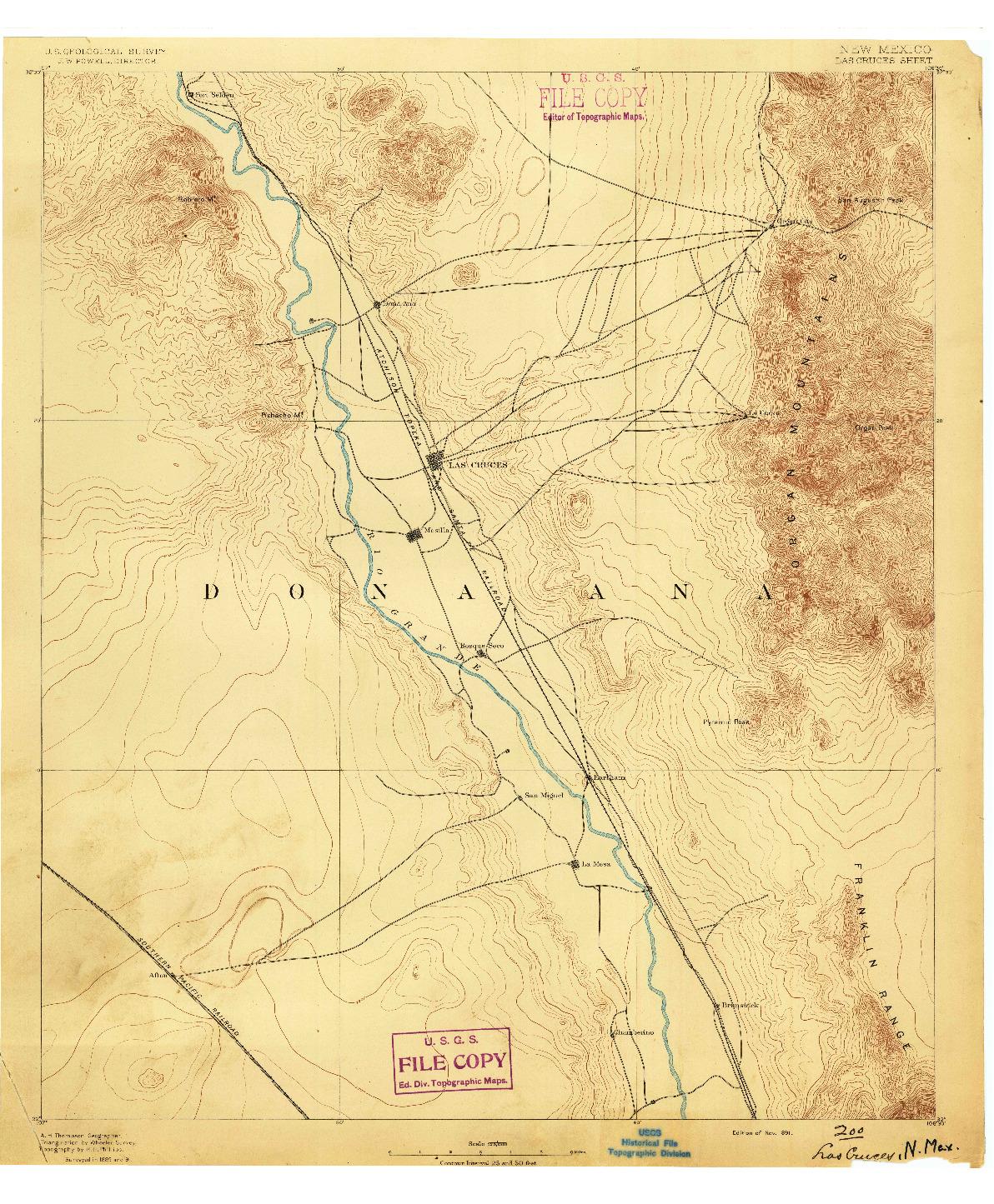 USGS 1:125000-SCALE QUADRANGLE FOR LAS CRUCES, NM 1891