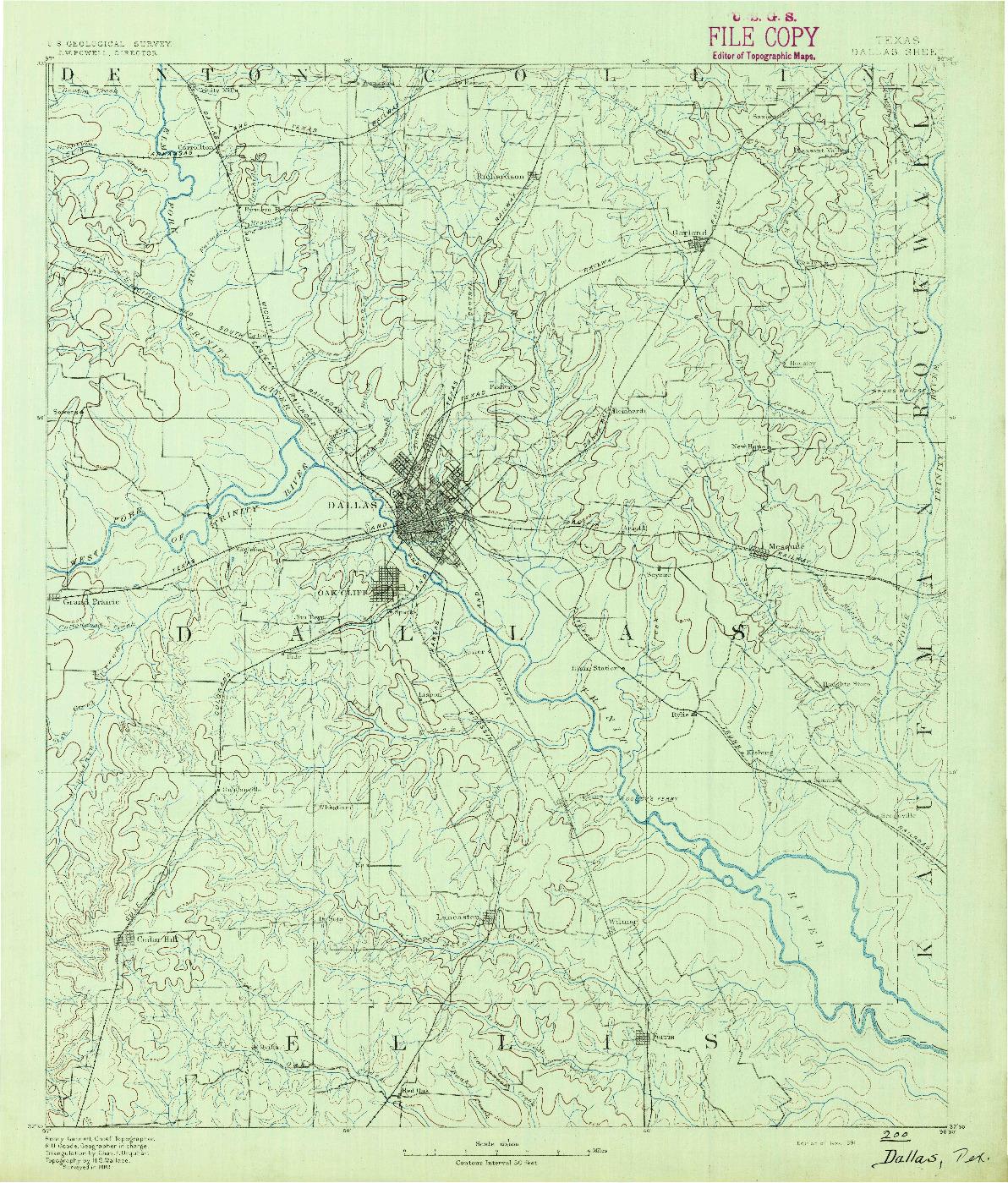USGS 1:125000-SCALE QUADRANGLE FOR DALLAS, TX 1891