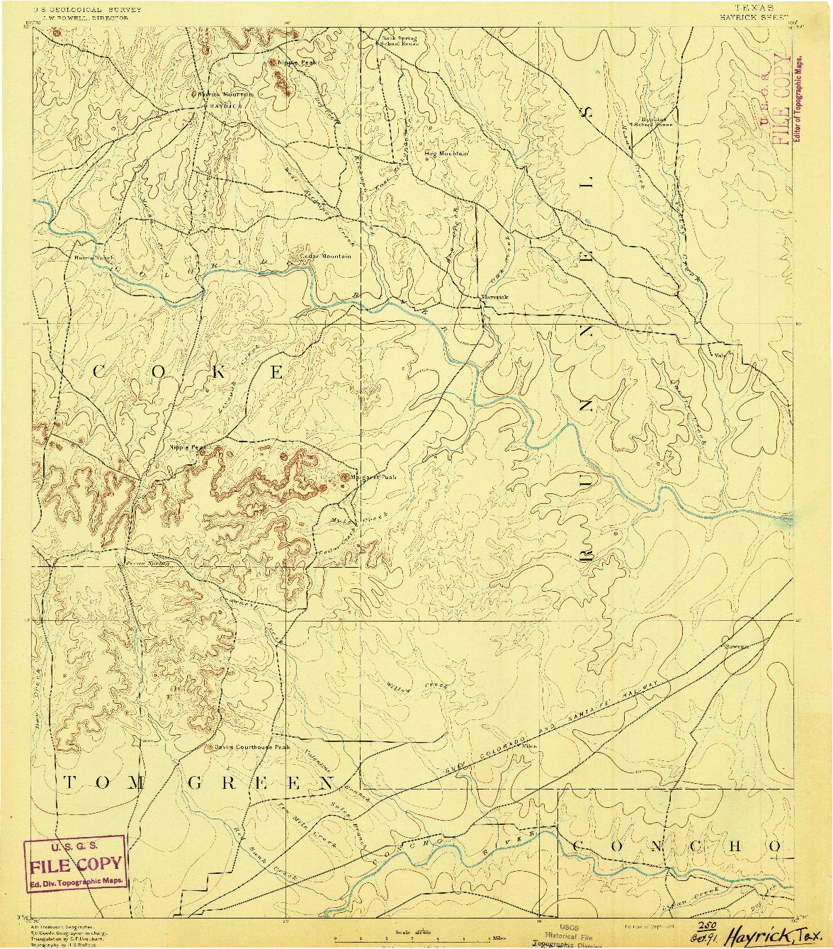 USGS 1:125000-SCALE QUADRANGLE FOR HAYRICK, TX 1891
