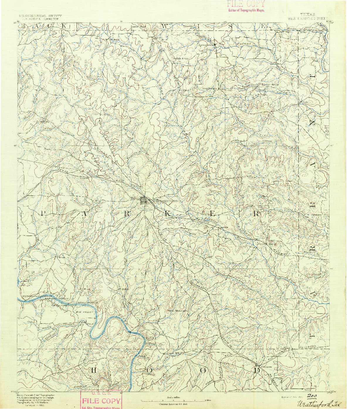 USGS 1:125000-SCALE QUADRANGLE FOR WEATHERFORD, TX 1891