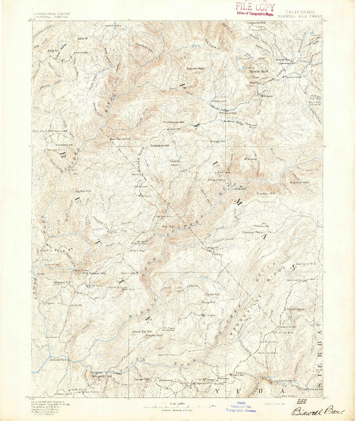 USGS 1:125000-SCALE QUADRANGLE FOR BIDWELL BAR, CA 1891