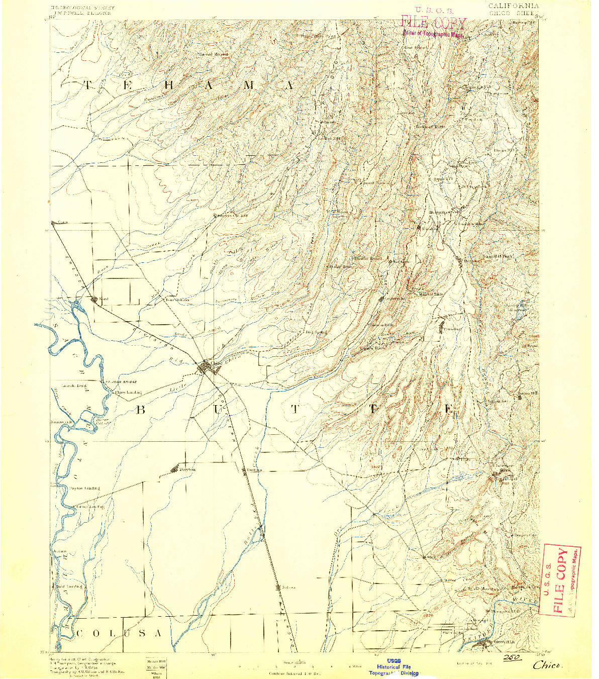 USGS 1:125000-SCALE QUADRANGLE FOR CHICO, CA 1891