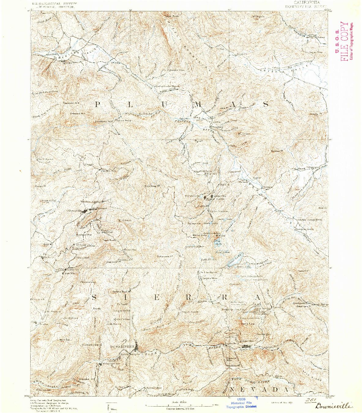 USGS 1:125000-SCALE QUADRANGLE FOR DOWNIEVILLE, CA 1891