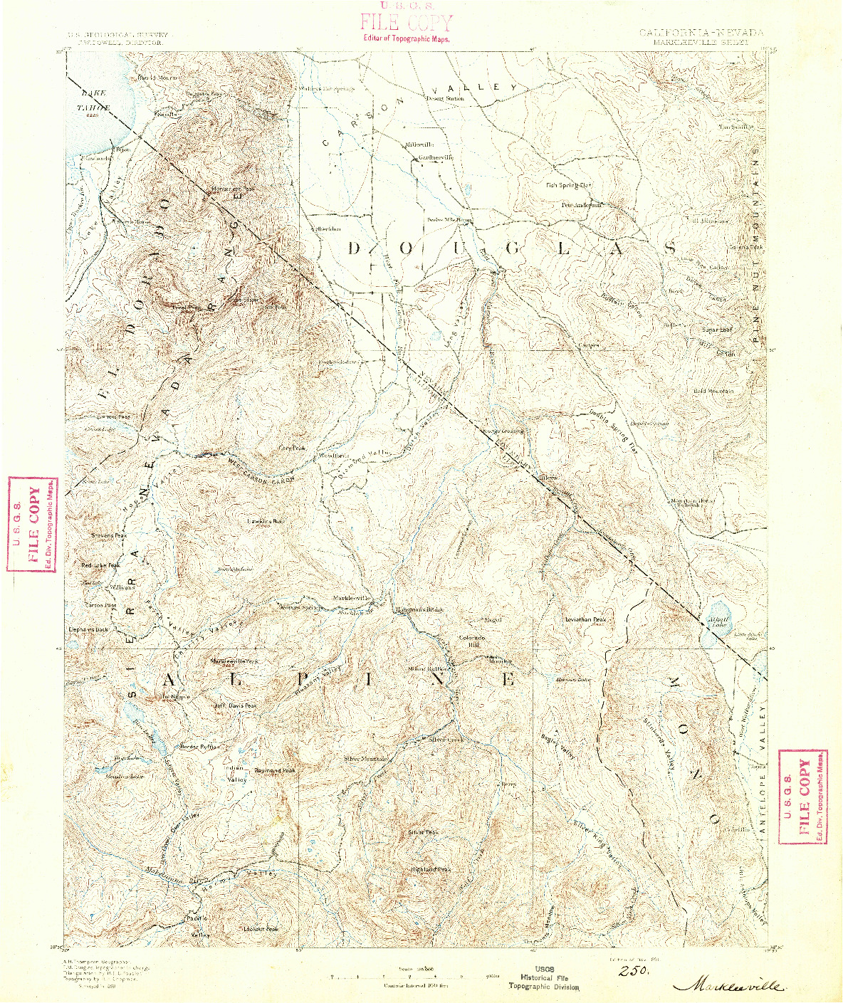 USGS 1:125000-SCALE QUADRANGLE FOR MARKLEEVILLE, CA 1891