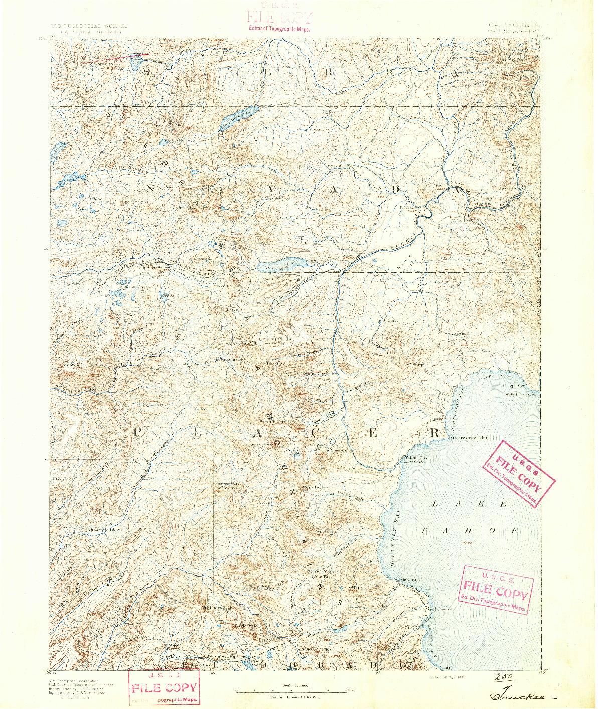 USGS 1:125000-SCALE QUADRANGLE FOR TRUCKEE, CA 1891