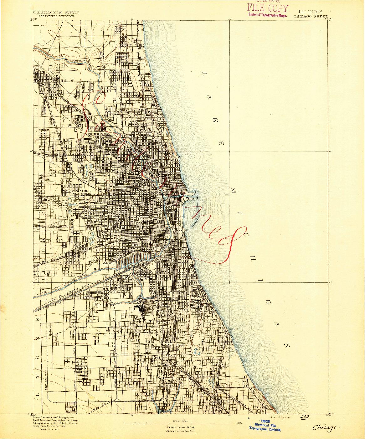 USGS 1:62500-SCALE QUADRANGLE FOR CHICAGO, IL 1891