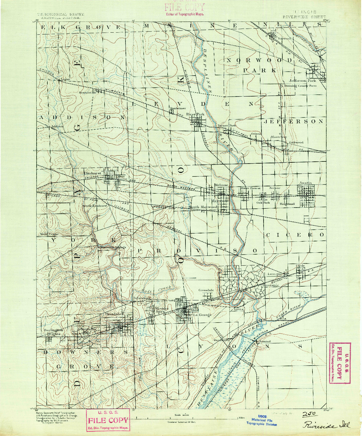 USGS 1:62500-SCALE QUADRANGLE FOR RIVERSIDE, IL 1891
