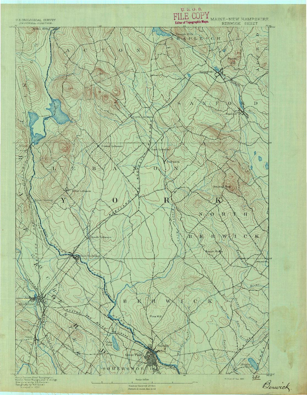 USGS 1:62500-SCALE QUADRANGLE FOR BERWICK, ME 1891