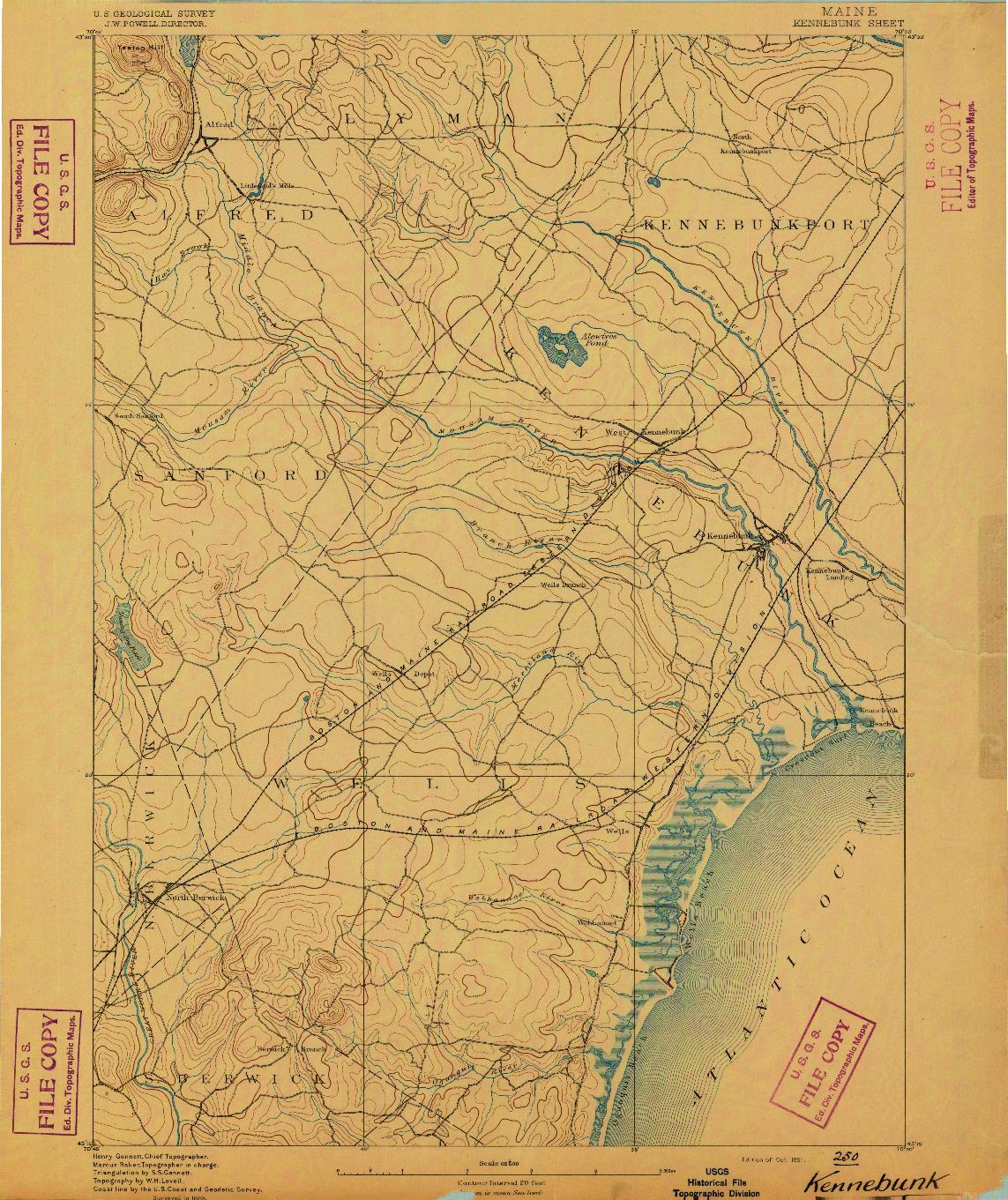USGS 1:62500-SCALE QUADRANGLE FOR KENNEBUNK, ME 1891