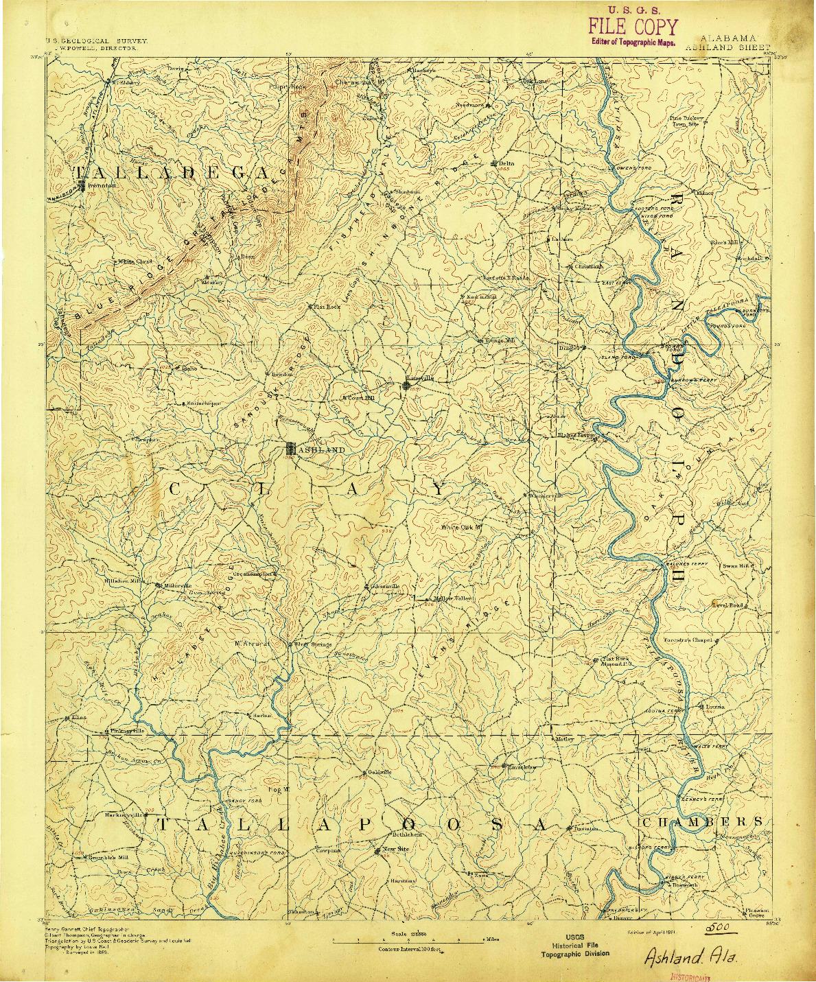 USGS 1:125000-SCALE QUADRANGLE FOR ASHLAND, AL 1891