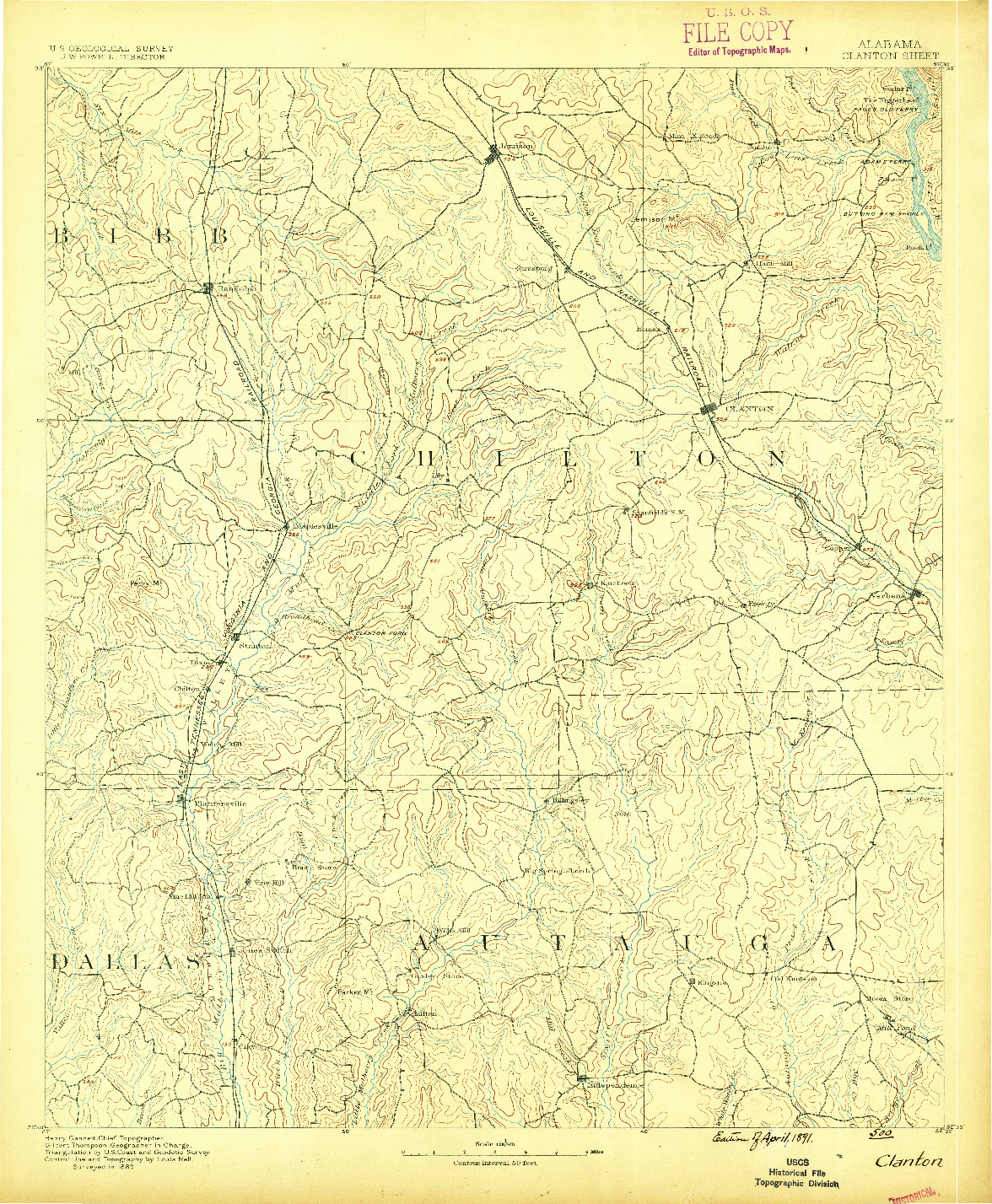 USGS 1:125000-SCALE QUADRANGLE FOR CLANTON, AL 1891