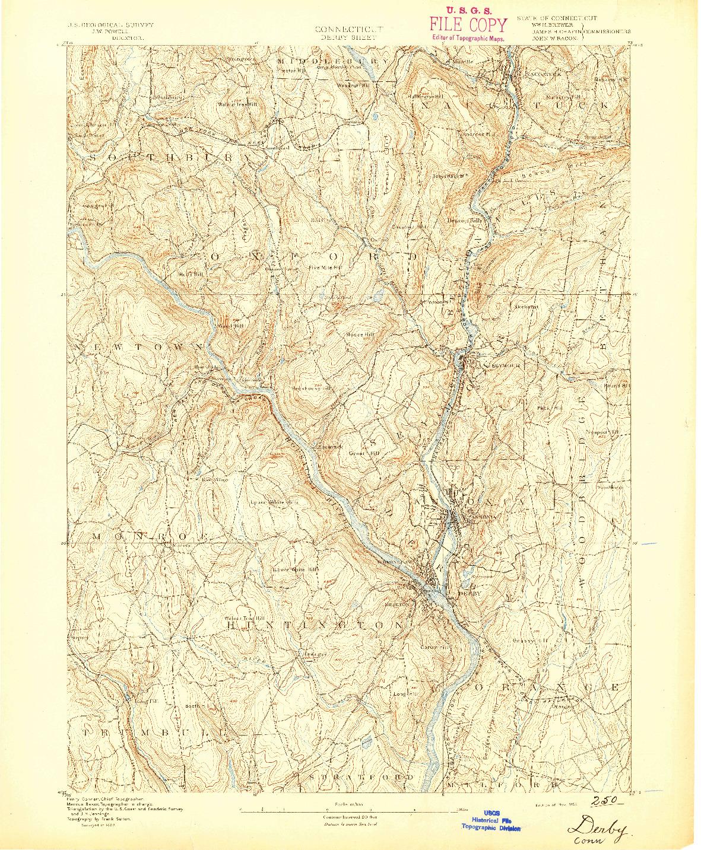 USGS 1:62500-SCALE QUADRANGLE FOR DERBY, CT 1891