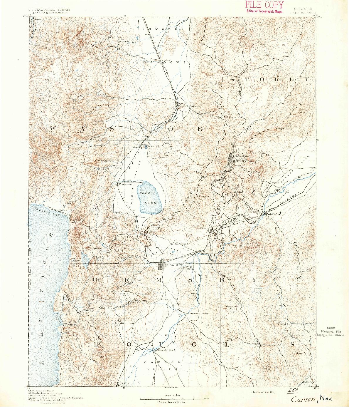 USGS 1:125000-SCALE QUADRANGLE FOR CARSON, NV 1891