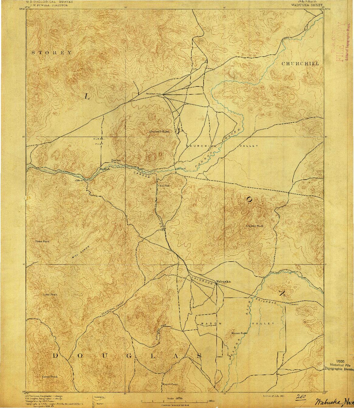 USGS 1:125000-SCALE QUADRANGLE FOR WABUSKA, NV 1891
