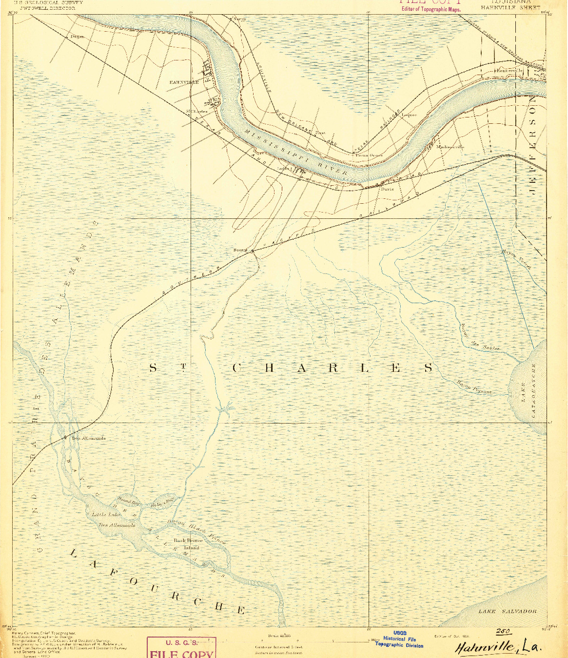 USGS 1:62500-SCALE QUADRANGLE FOR HAHNVILLE, LA 1891