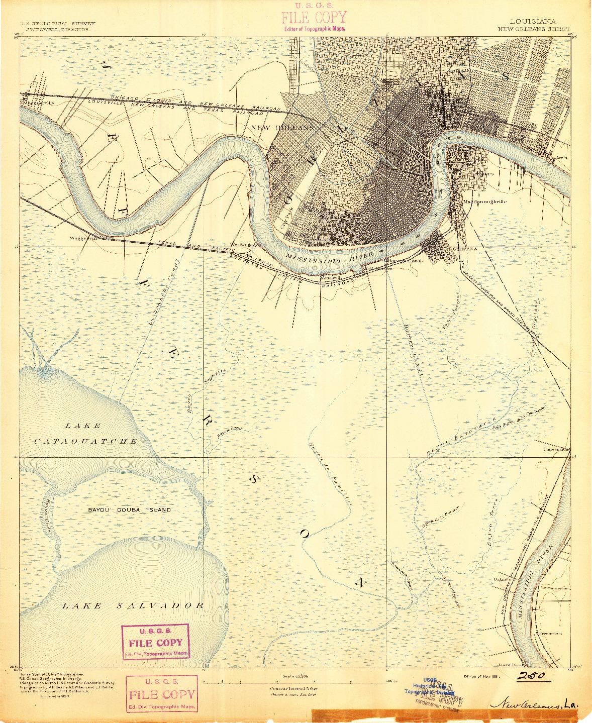 USGS 1:62500-SCALE QUADRANGLE FOR NEW ORLEANS, LA 1891