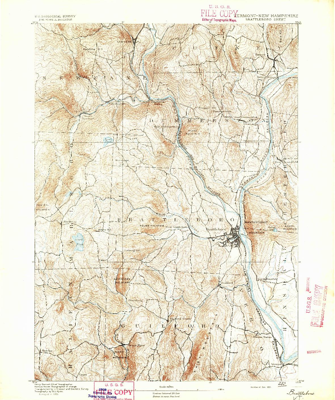 USGS 1:62500-SCALE QUADRANGLE FOR BRATTLEBORO, VT 1891