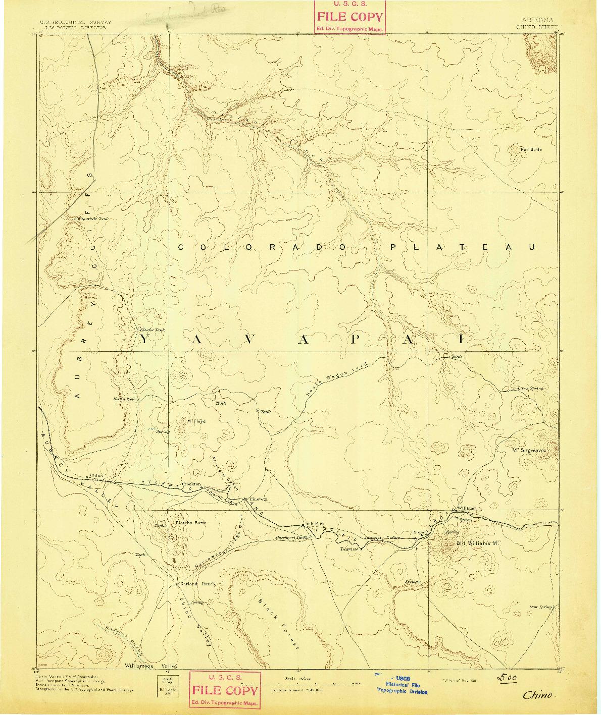 USGS 1:250000-SCALE QUADRANGLE FOR CHINO, AZ 1891