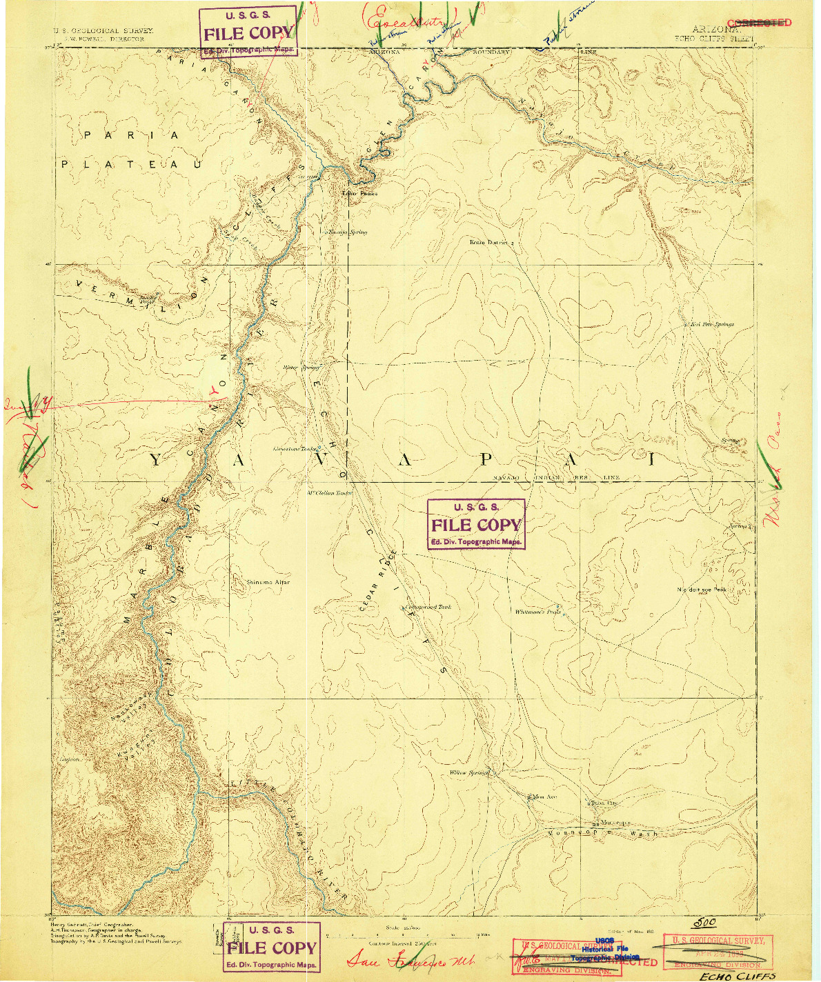 USGS 1:250000-SCALE QUADRANGLE FOR ECHO CLIFFS, AZ 1891