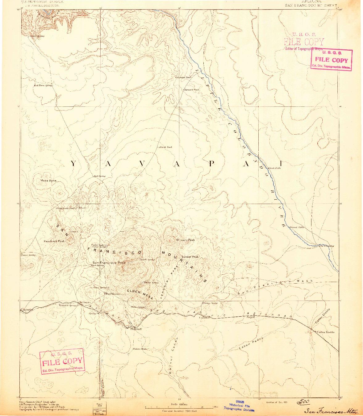 USGS 1:250000-SCALE QUADRANGLE FOR SAN FRANCISCO MTNS, AZ 1891