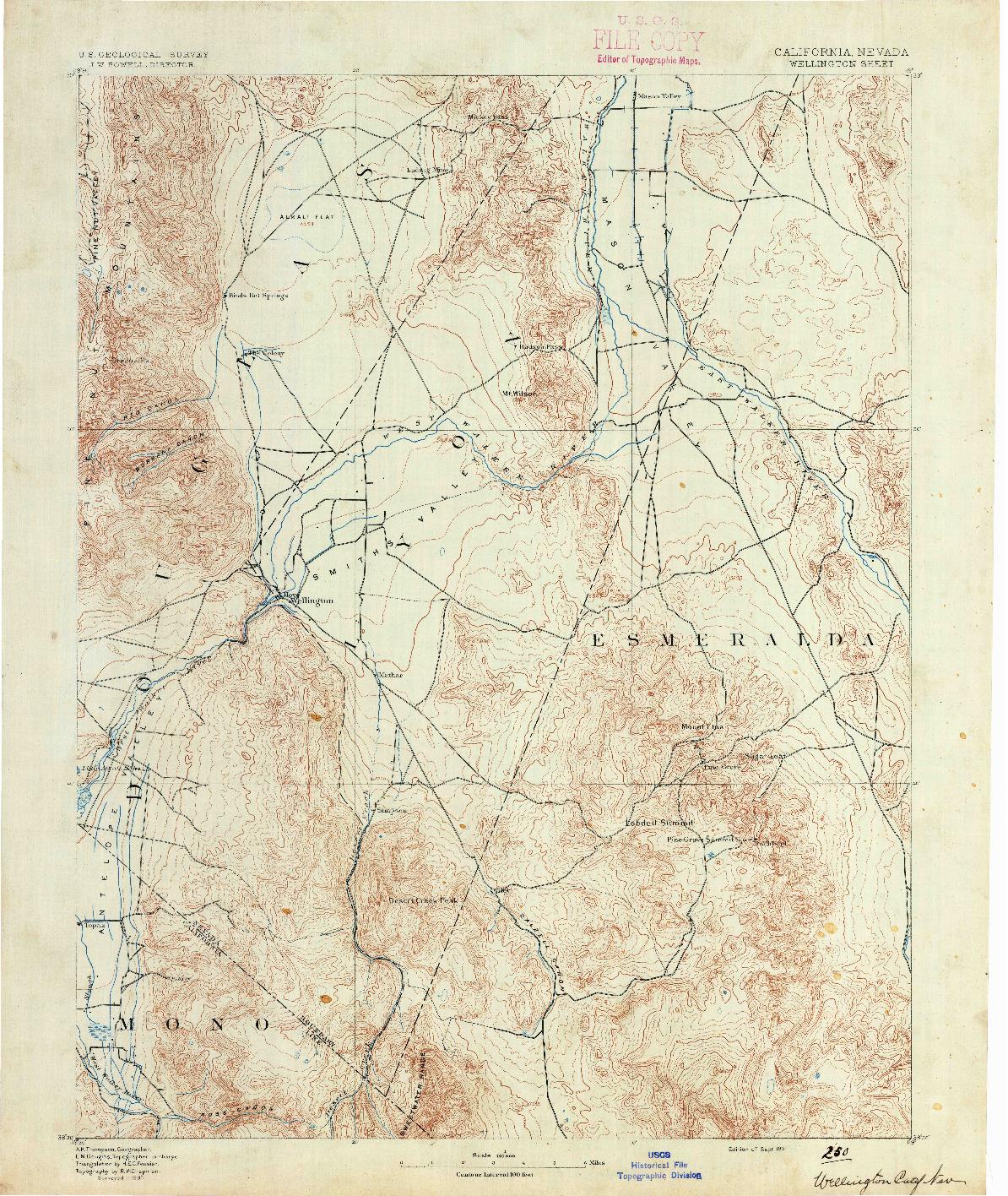USGS 1:125000-SCALE QUADRANGLE FOR WELLINGTON, CA 1891