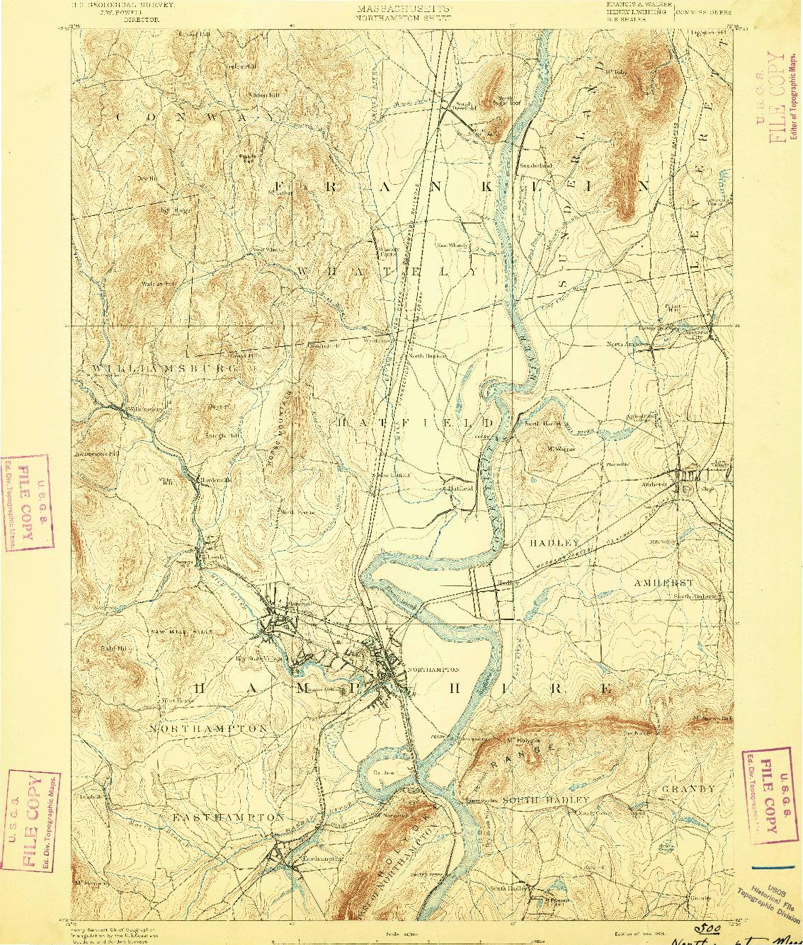 USGS 1:62500-SCALE QUADRANGLE FOR NORTHAMPTON, MA 1891