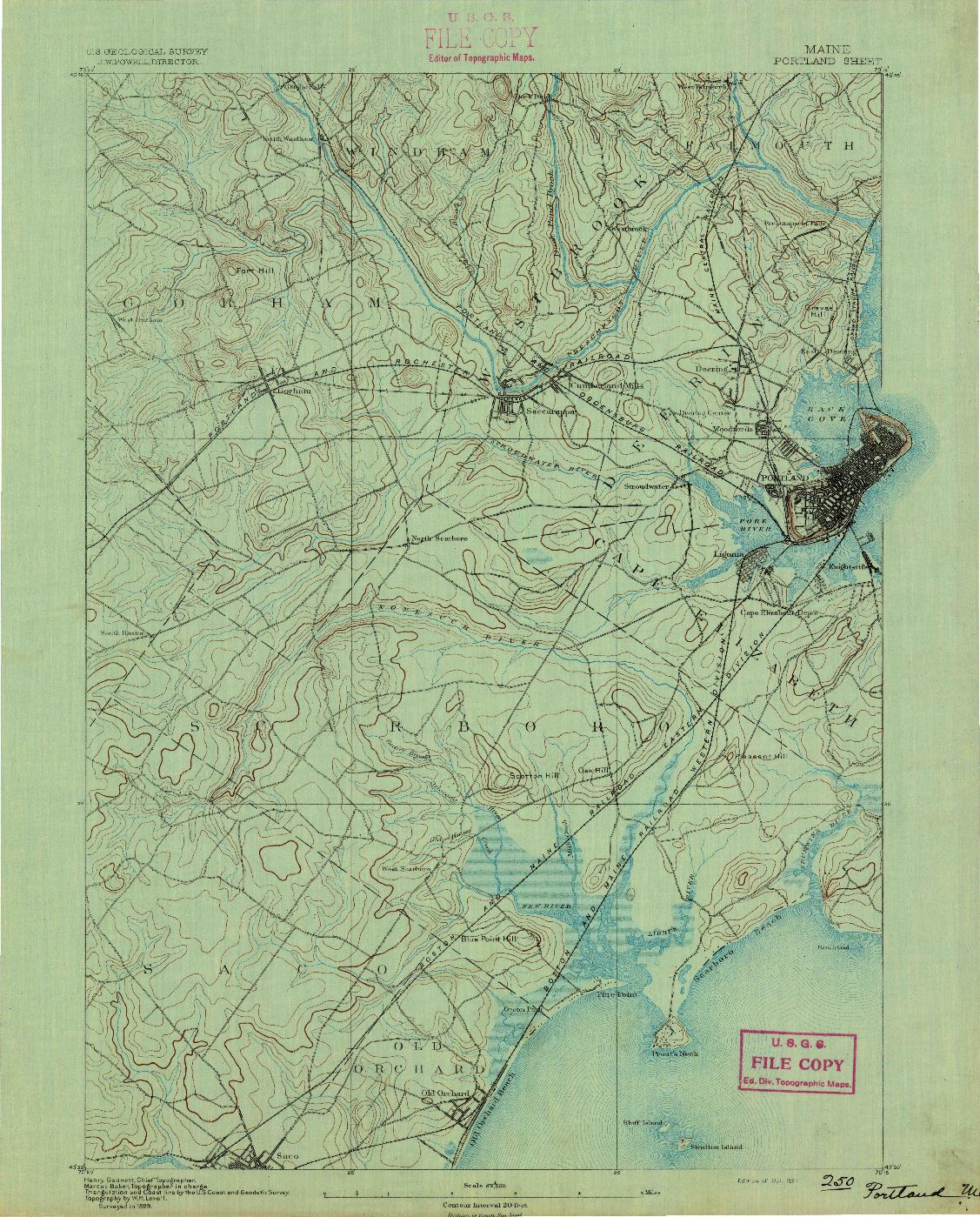 USGS 1:62500-SCALE QUADRANGLE FOR PORTLAND, ME 1891