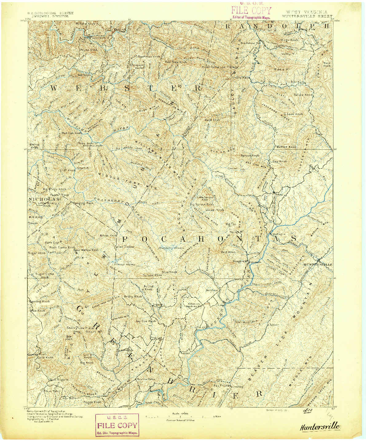 USGS 1:125000-SCALE QUADRANGLE FOR HUNTERSVILLE, WV 1891