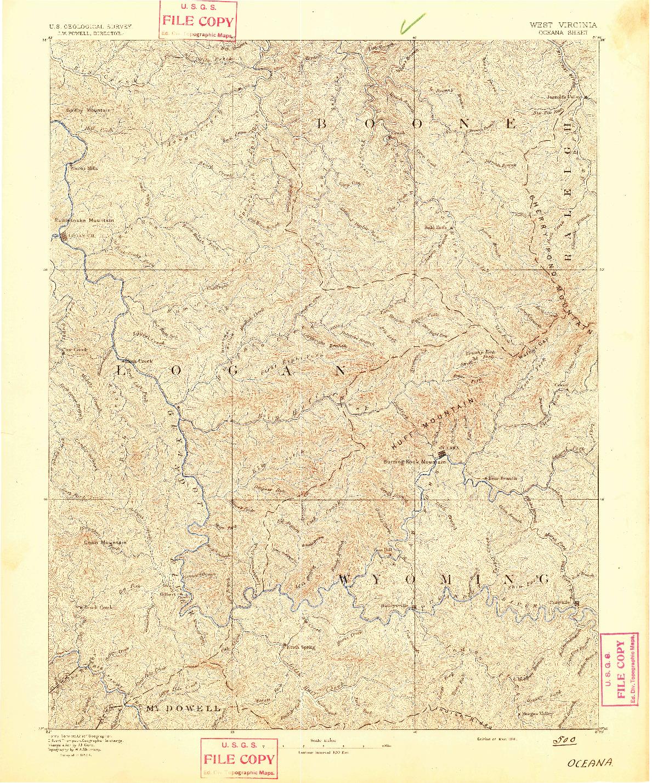 USGS 1:125000-SCALE QUADRANGLE FOR OCEANA, WV 1891