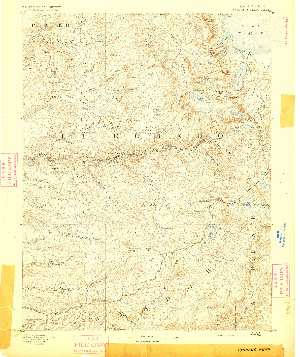 USGS 1:125000-SCALE QUADRANGLE FOR PYRAMID PEAK, CA 1891