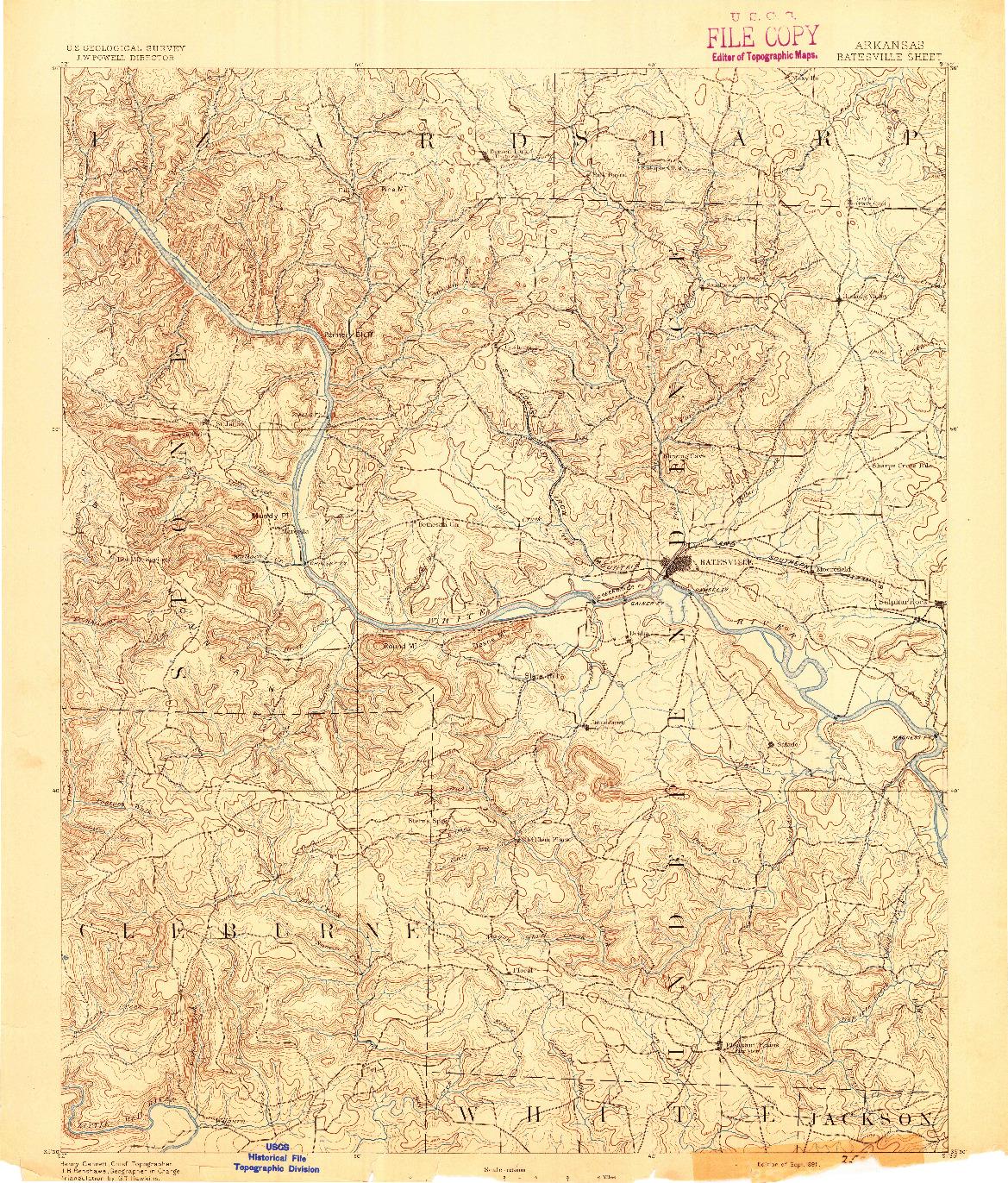 USGS 1:125000-SCALE QUADRANGLE FOR BATESVILLE, AR 1891