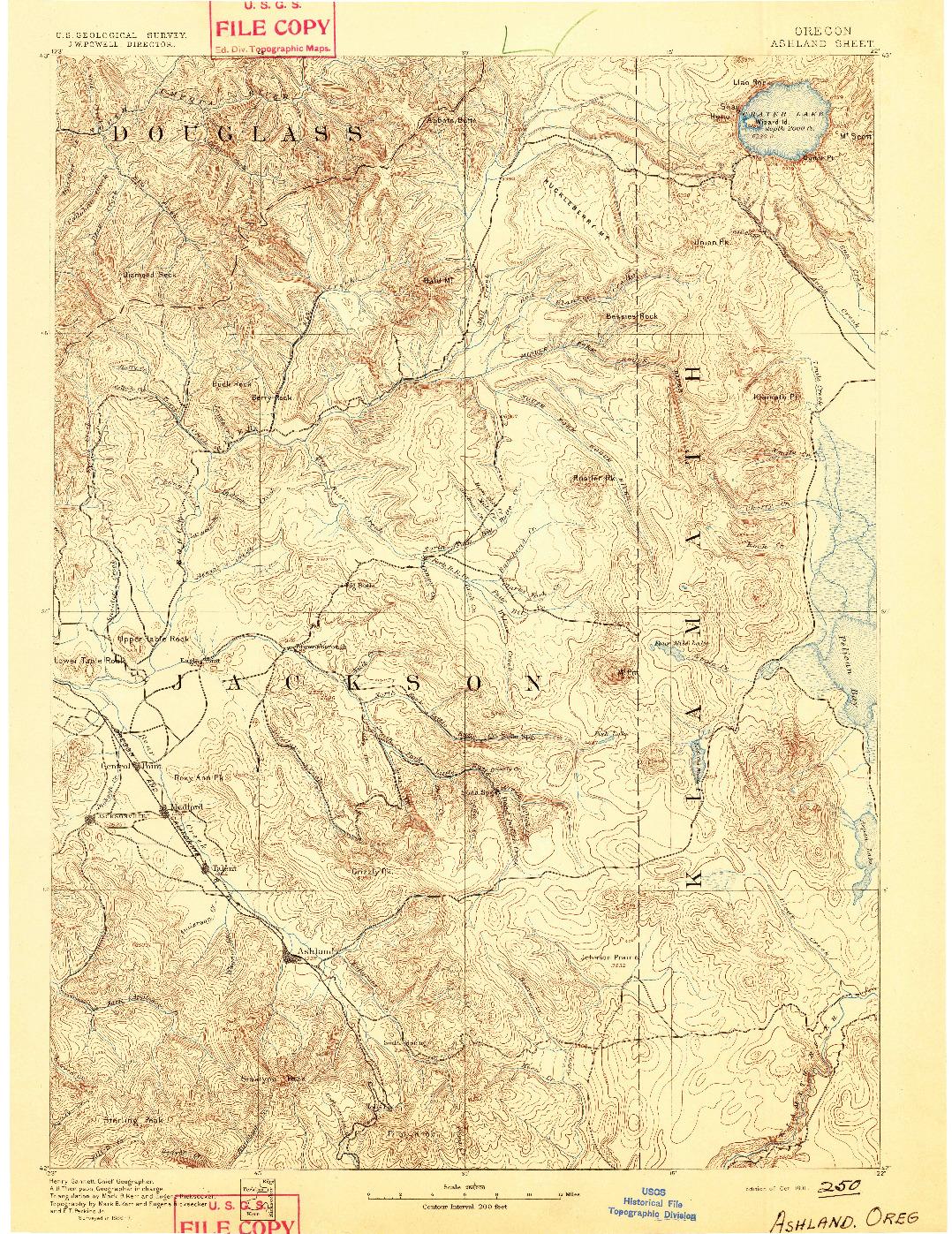 USGS 1:250000-SCALE QUADRANGLE FOR ASHLAND, OR 1891