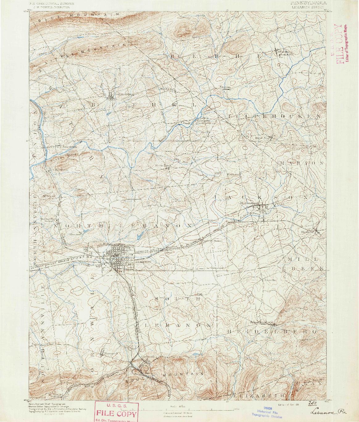 USGS 1:62500-SCALE QUADRANGLE FOR LEBANON, PA 1891