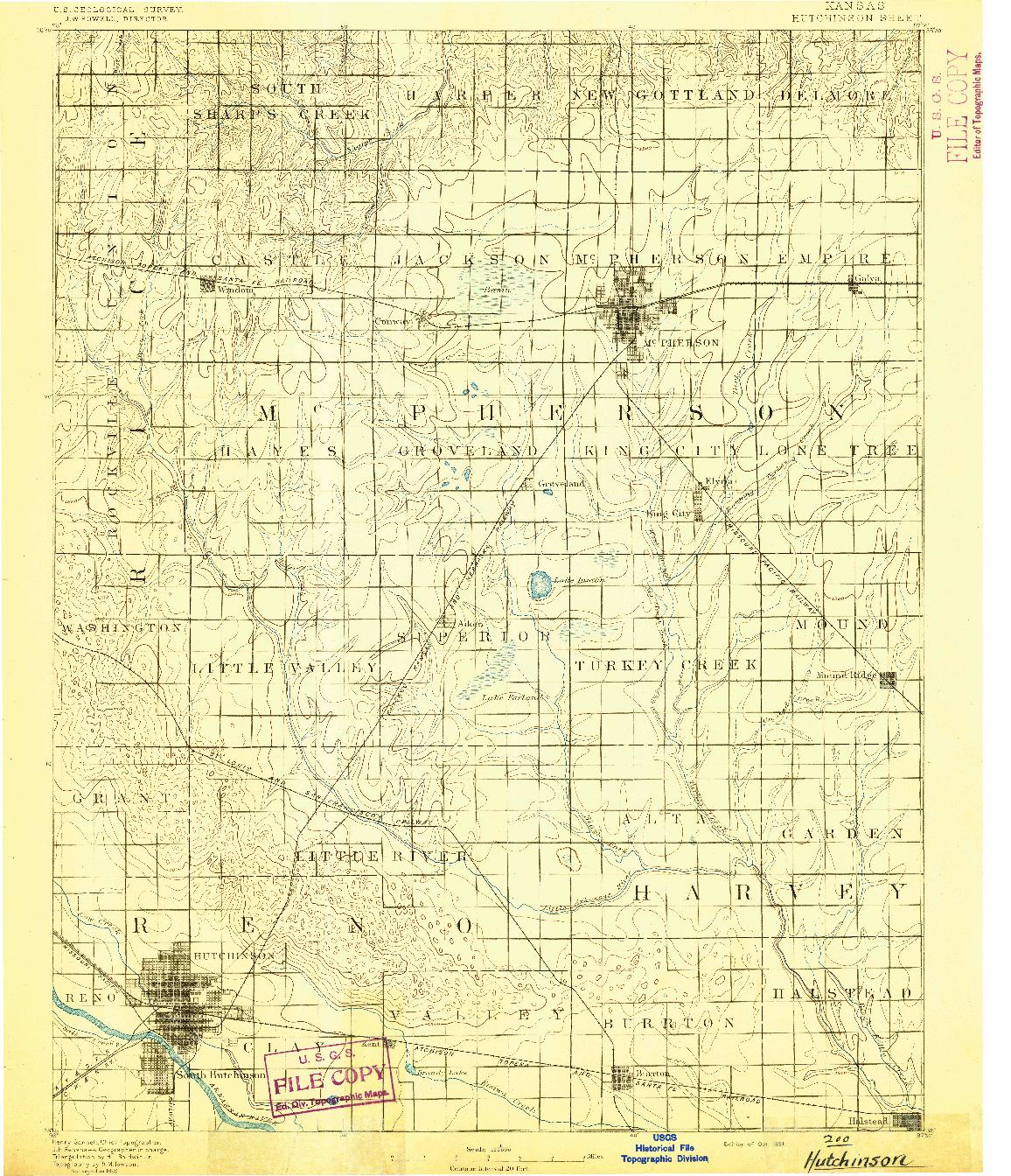 USGS 1:125000-SCALE QUADRANGLE FOR HUTCHINSON, KS 1891