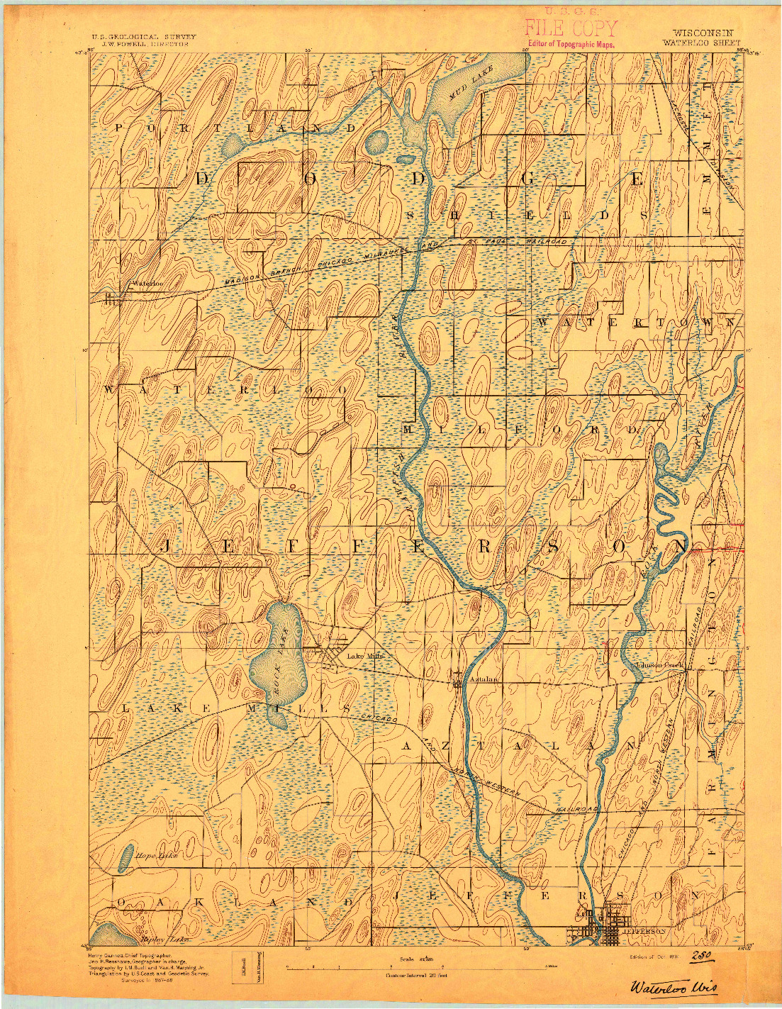 USGS 1:62500-SCALE QUADRANGLE FOR WATERLOO, WI 1891